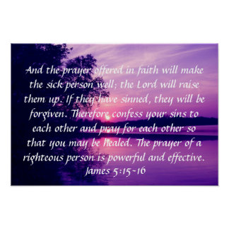 prayer offered in faith bible verse sunset poster