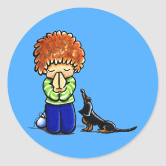 Prayer Partners Boy B/T Dachshund Classic Round Sticker