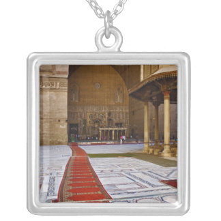 Prayer rugs leading into Islamic mosque, Cairo, Square Pendant Necklace