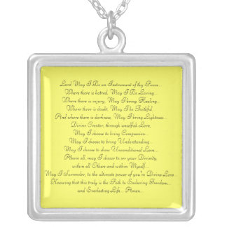 Prayer Saint Francis Silver Plated Necklace