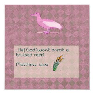 Prayer scripture card with pink albatross