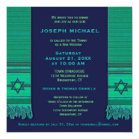Prayer Shawl Blue and Green Bar Mitzvah Card