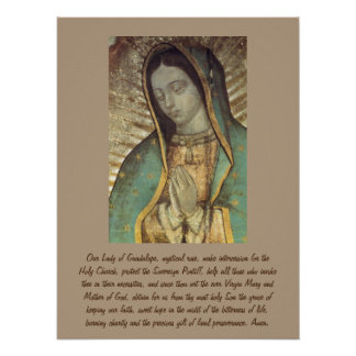 Prayer To Our Mother Of Guadalupe Poster