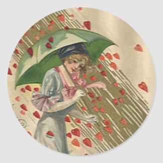 Prayer to Saint Valentine, Vintage Victorian Lady Classic Round Sticker