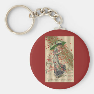 Prayer to Saint Valentine, Vintage Victorian Lady Keychain