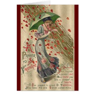 Prayer to Saint Valentine, Vintage Victorian Lady Stationery Note Card