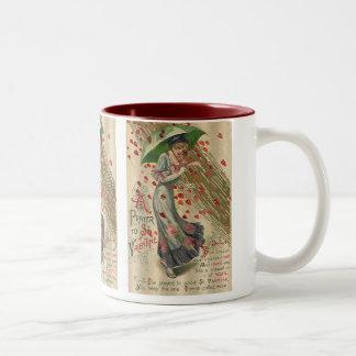 Prayer to Saint Valentine, Vintage Victorian Lady Two-Tone Coffee Mug