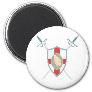 Prayer Warrior With Praying Hands 2 Inch Round Magnet