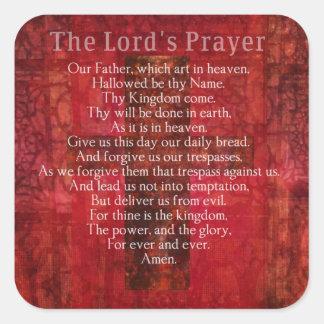 Prayer Words del señor tradicional Pegatina Cuadrada