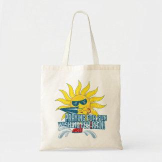 Prayibg for sun budget tote bag
