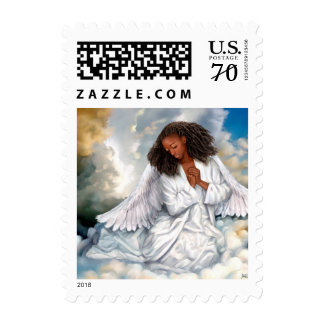 Praying Afro Angel Painting Postage Stamps