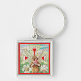 Praying Angel Cross & White Lilies Key Chains