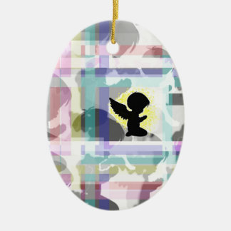 Praying Angel. Double-Sided Oval Ceramic Christmas Ornament