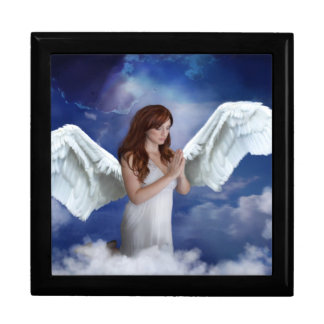 Praying Angel in the Clouds Jewelry Box