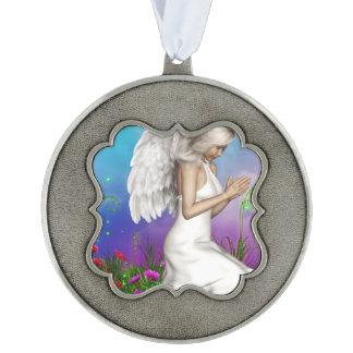 Praying Angel Scalloped Ornament