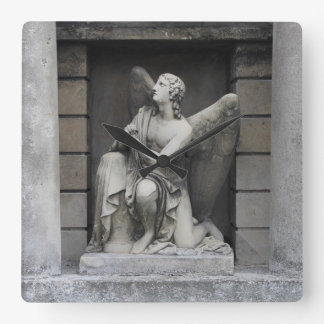 Praying Angel Sculpture Square Wall Clock