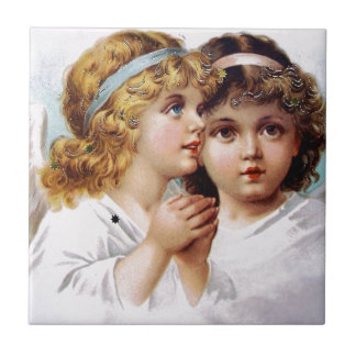 Praying angels children ceramic tile
