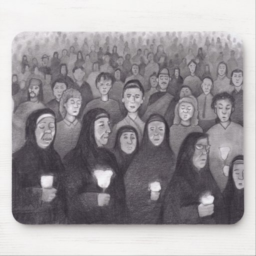 Praying by candle light in Lourdes, France Mouse Pad