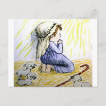 praying child Christmas Holiday Postcard
