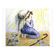 praying child Christmas Postcard