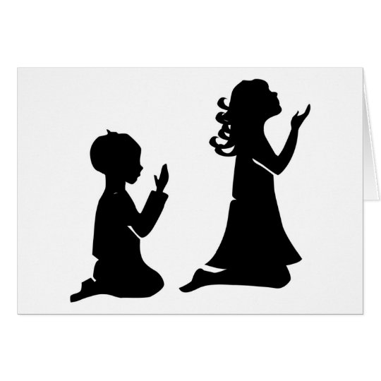 Praying Children Black Silhouettes Card Zazzle