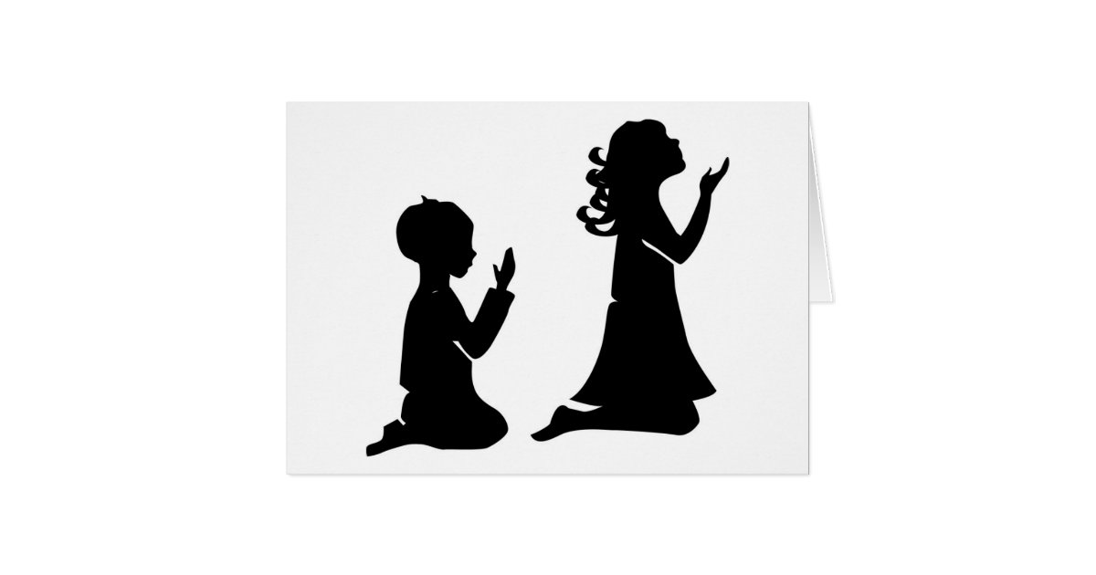 praying children black silhouettes card