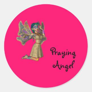 Praying Christmas Angel Classic Round Sticker