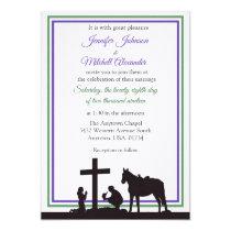 Praying Cowboy and Bride Purple Green Wedding Invitation