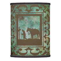 Praying Cowboy At The Cross with Horse Lamp Shade