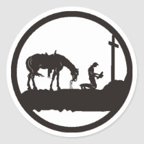 praying cowboy classic round sticker