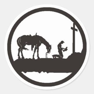 praying cowboy classic round sticker