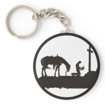 praying cowboy keychain
