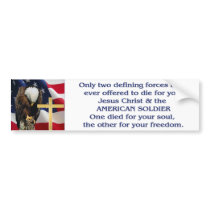 Praying Eagle American Flag Christian Cross Bumper Sticker