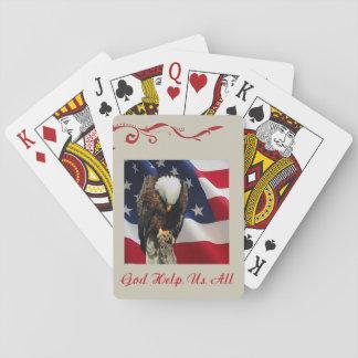 Praying Eagle American Flag sad red white blue Playing Cards