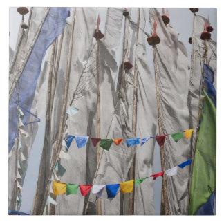 Praying flag poles in mountain, Yotongla Pass 2 Ceramic Tile