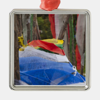 Praying flag poles in mountain, Yotongla Pass 3 Square Metal Christmas Ornament