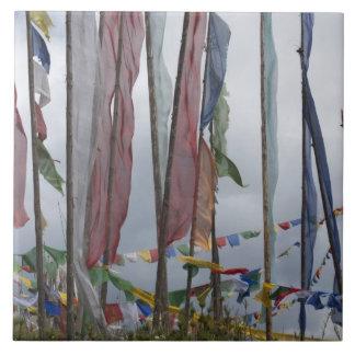 Praying flag poles in mountain, Yotongla Pass Ceramic Tile