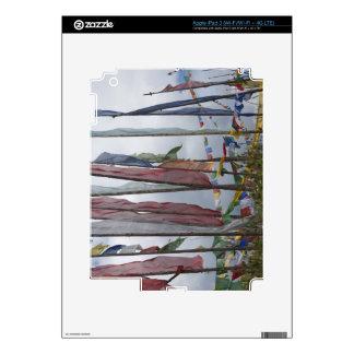 Praying flag poles in mountain, Yotongla Pass Decals For iPad 3