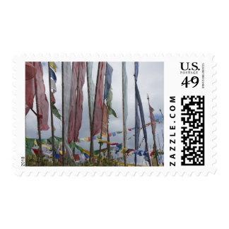 Praying flag poles in mountain, Yotongla Pass Stamp