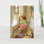 Praying for you card, girl at home at window card