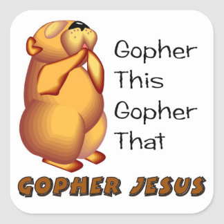 Praying gopher Christian design Square Sticker
