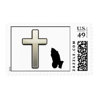 Praying Hands Christian Postage Stamp