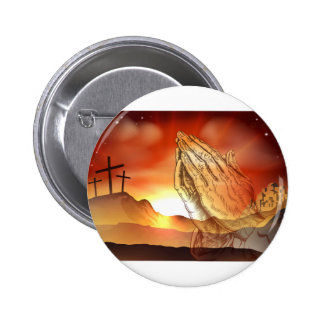 Praying Hands Easter Concept Button