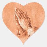 Praying Hands Heart Sticker