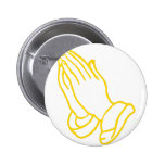 Praying Hands in Gold Yellow Button