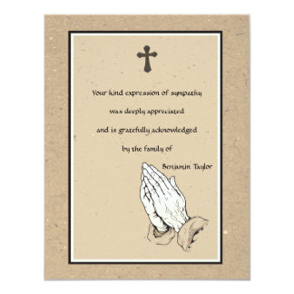 Praying Hands Memorial Thank You Card