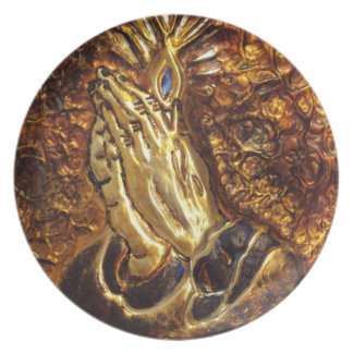 Praying Hands Religious Art Gift Home Decor Plate
