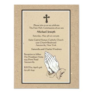 "Praying Hands Religious Invitation 4.25"" X 5.5"" Invitation Card"