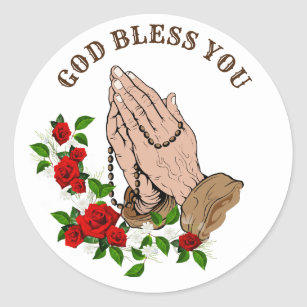 3fd6245d10658 Praying Hands Rosary Red Roses God Bless You Classic Round Sticker
