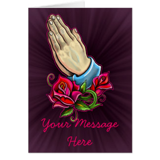 Praying Hands Roses Design Card